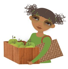illustration of woman carrying box of apples