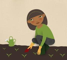 illustration of woman planting saplings