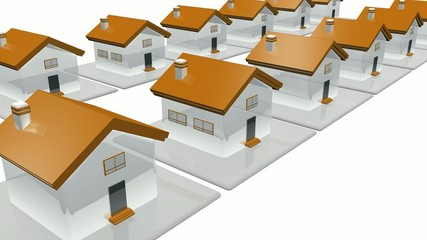 3D block houses construction animation
