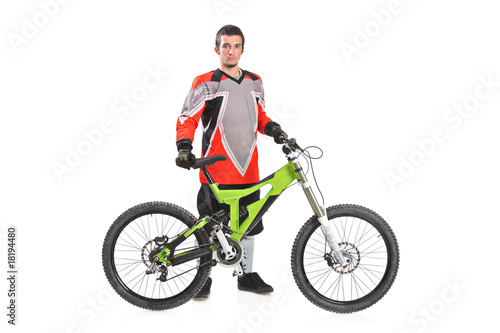 Person with a mountain bike isolated on white