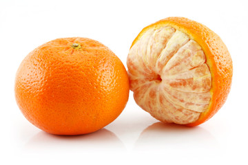 Ripe Sliced Tangerine Fruit Isolated on White