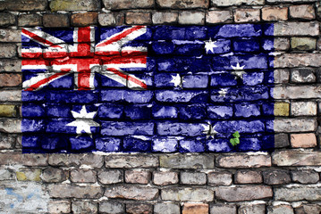 Flag of Australia painted on an old brick wall