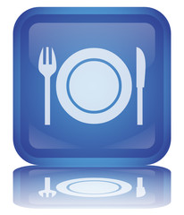 """Restaurant"" Button (square - blue - vector - refection)"