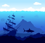 Dangerous underwater world with sharks and ship poster