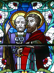 Stained glass of St. Peter and st. Paul