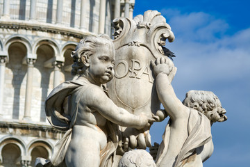 Statue that sits on the Field of Miracles in Pisa Italy . Detail