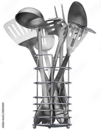 Set of stainless utensils on white background
