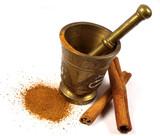 Cinnamon with mortar