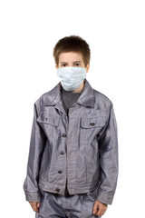Teenager in a protective mask