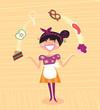 roleta: Mother - kitchen super hero. VECTOR ILLUSTRATION.