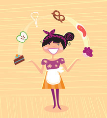 Mother - kitchen super hero. VECTOR ILLUSTRATION.