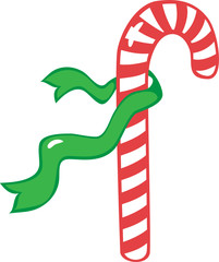The candy cane with a green ribbon