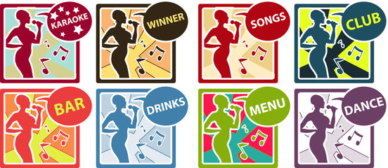 8 Karaoke music club set with woman sing song, silhouette icons,