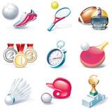 Vector cartoon style icon set. Part 34. Sport