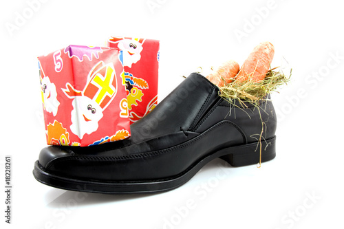 Big shoe with carrots and presents for Sinterklaas
