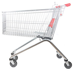 metal shopping trolley isolated on white background