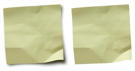 vieille note froissée - papier adhésif jaune pour message
