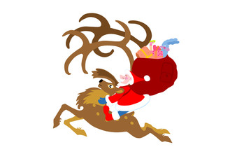 Santa Claus going on a reindeer with gifts