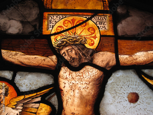 Foto op Plexiglas Bedehuis The Crucifixion Of Christ Medieval Stained Glass Panel