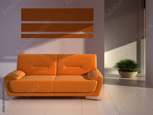Orange composition with a couch