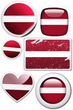 Latvia - Glossy and colorful stickers with reflection set poster