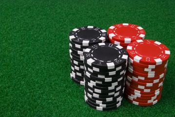 2 stacks of poker chips