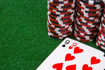 par of nines and some poker chips