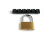 secure written with keyboard keys with padlock