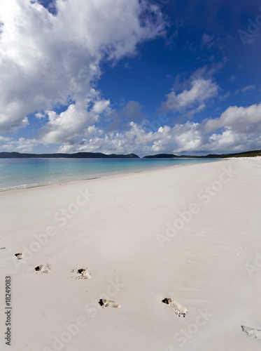 Footsteps on a deserted beach in the Whitsunday Islands