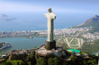 canvas print picture - Aerial view of Christ the Redeemer Monument and Rio De Janeiro