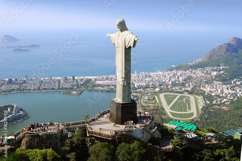 Aerial view of Christ the Redeemer Monument and Rio De Janeiro - 18249418