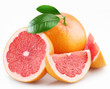 Grapefruits and segments with a leaves on a white background