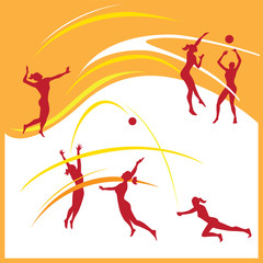 Woman volley ball vector