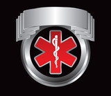 Caduceus medical symbol in silver crest