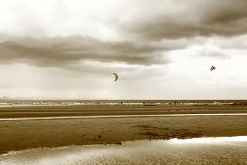 Kite surfing in Scotland black&white