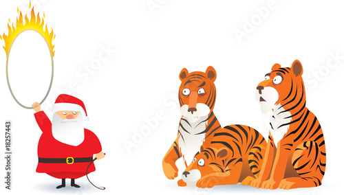 cartoon picture with santa claus and tigers