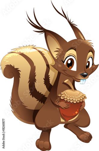 Squirrel, funny cartoon character.