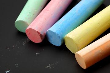closeup of color chalks