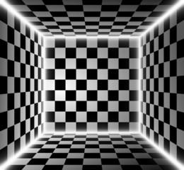 Stanza a scacchi con luce filtrata