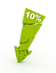 Broken 10% discount arrow