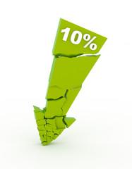 Broken 10% discount arrow