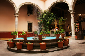 fountain in interior court in Guanajuato