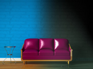Purple couch, table  and standard lamp in  blue minimalist inter