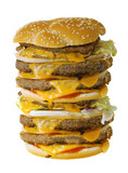 Mega cheeseburger isolated on white background poster