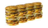 A row of mega cheeseburgers isolated on white background poster