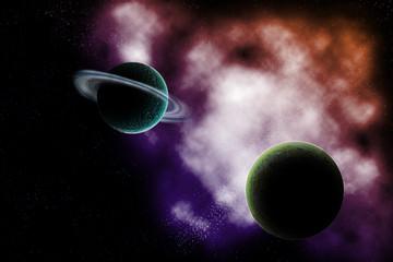 fantasy creation of planet and nebula