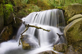 Beautiful waterfall in Portuguese forest, long exposure poster