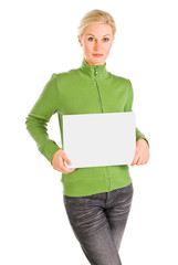 beautiful woman holding a blank white card