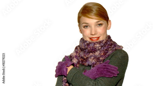 Portrait of beautiful blond woman wearing winter clothes