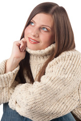 Portrait of beautiful young woman wearing turtleneck